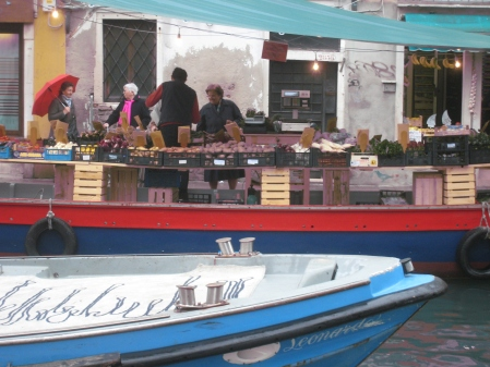 Farmers Market via boat in Venice, Italy.